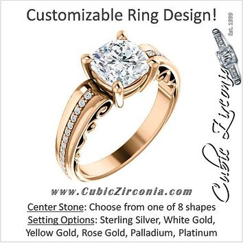 Cubic Zirconia Engagement Ring- The Catherine (Customizable Center with Vented Round Prong Accents)