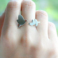 Dove and Olive Leaf Sterling Ring .925 Silver Ring Victory Symbol