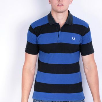Fred Perry Mens M Polo Shirt Blue Cotton Summer Striped
