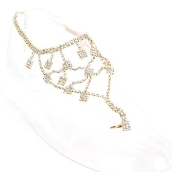 Toe Ring Rhinestone Layered Chain Anklet