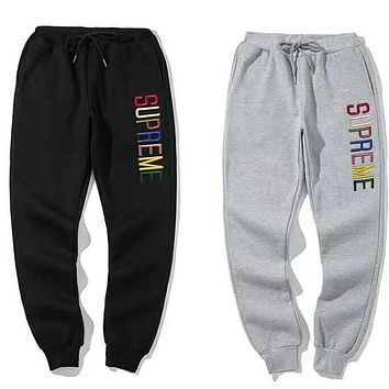 Supreme Autumn Winter Popular Unisex Casual Colorful Letter Embroidery Drawstring Sport Pants Trousers Velvet Sweatpants