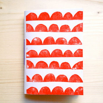 Geometric Pocket Notebook, Hand Printed Journal with Scallop Print, Red, Eco-Friendly Jotter