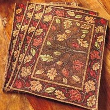 Set Of 4 Harvest Leaves Tapestry Placemats Fall Kitchen Dining Table Home Decor