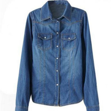 Slim Fit Denim Blouse