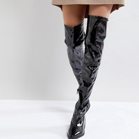Monki Knee High Patent Boot at asos.com