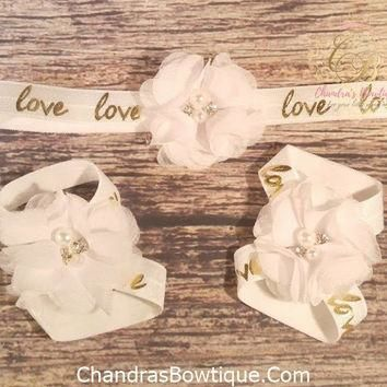 White Chiffon on White and Gold Love Band Headband and Barefoot Sandal Set.