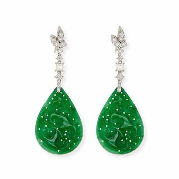 David C.A. Lin 18k Jadeite & Diamond Pear Drop Earrings