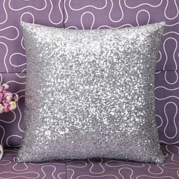 New Qualified Solid Color Glitter Sequins Throw Cafe Home Decor Cushion  Levert Dropship dig61017