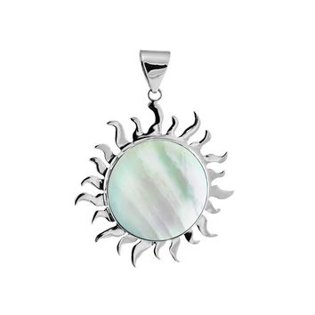 AP-1009-MOP Sterling Silver divine sparkling Sun Pendant With Round Shape Mother Of Pearl