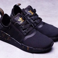 Adidas NMD x LV Louis Vuitton Black Fashion Trending Leisure Running Sports Shoes Black&Gold
