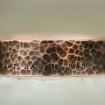 Father's Day Gift for Dad Oxidized Copper Cuff My Dad is Rad - Unique Personalized Gift for Him