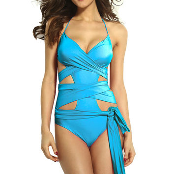 Blue Cut Out Wrap Swimsuit