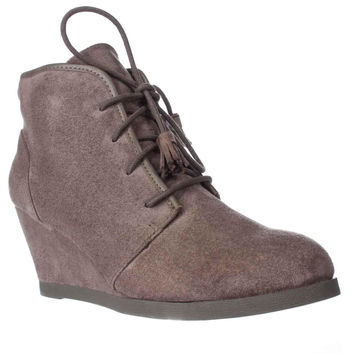 madden girl Dallyy Lace Up Wedge Ankle Booties, Dark Taupe, 9.5 US