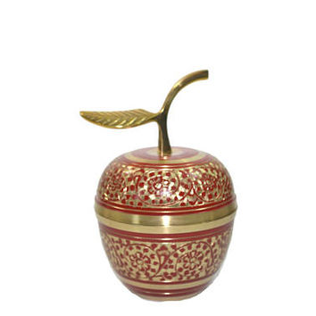 Vintage Brass Apple Paperweight Cloisonne Apple Box Red and Gold Apple Teachers Gift Apple Ring Box