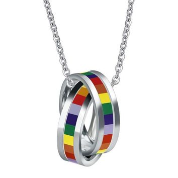 NECKLACE JEWELRY LGBT Gay Pride Rainbow Pendant Circles Charm Titanium Stainless Steel