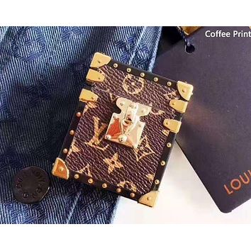 LV tide brand leather holster AirPods1/2 generation protective cover wireless Bluetooth headset soft shell cover Coffee Print