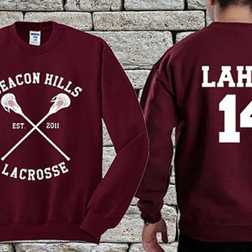 BEACON HILLS Lacrosse Team White Maroon sweater sweatshirt teen wolf. Personalized back Isaac Lahey 14