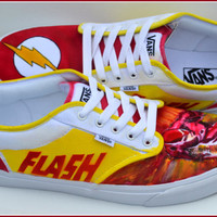 "Hand Painted Mens Shoes, Painted Shoes, ""The Flash"" Shoes, Painted Flash Shoes, Mens Vans, The Flash Vans, Custom Sneakers, Flash, The Flash"