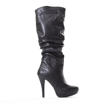 Lava Black Knee High Vegan Leather Heel Boots