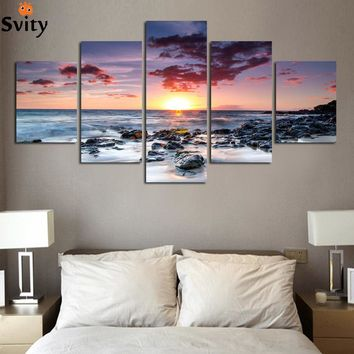 Modern Wall Art Home Decoration Printed Oil Painting 5 Piece No Frame Beach  Sunset Glow  Scenery Paintings