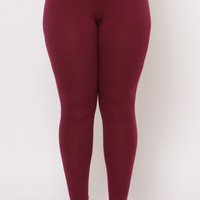 Plus Size Basic Ankle Leggings - Burgundy