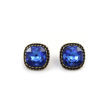 Vintage style Twisted Royal Blue Earrings