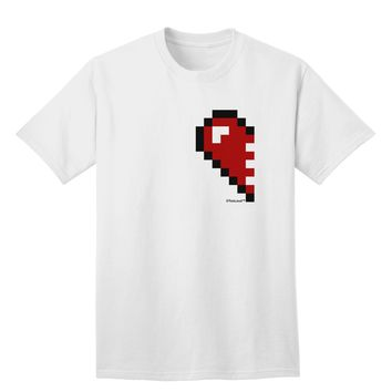 Couples Pixel Heart Design - Left Adult T-Shirt by TooLoud