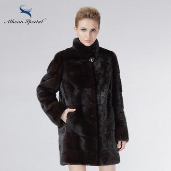 Athena Special Fashion Fur Coat Women Mink Coats Real Mink Fur Natural Brown Girl's Genuine Mink Coat Price On Sale Women Shuba