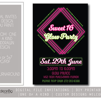 Glow Party Invitation, Glow Birthday, Glow Sweet 16 Birthday,Neon Party Digital File