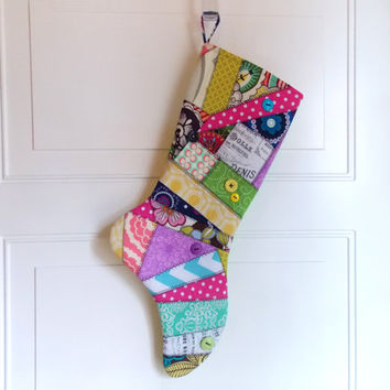 Christmas Stocking, Crazy Quilt , Patchwork, Bright, Colorful, Neon, Pastels, Buttons, Elf Stocking, Holiday Stocking