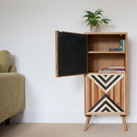 Vintage Tall Cabinet | Abstract Sideboard | Retro Cabinet | One Off | Kitchen Unit | Office Storage | Rustic Handmade