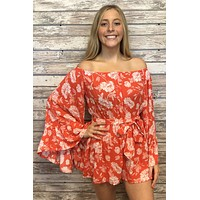 Feeling Free Romper- Coral