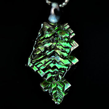 A Dream of Spring, Iridescent Bismuth Crystal Pendant for your Necklace, Unique Fractal Jewelry