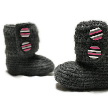 Crochet Baby Ankle Boots, Ugg Style, READY TO SHIP