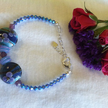 Blue and Purple Crystal Bracelet Handmade Artisan Lamp Work Floral Glass and Swarovsky Crystal Beaded Bracelet Modern Spring Jewelry Gift