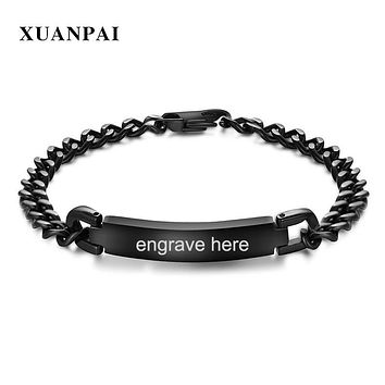 XUANPAI 10mm Free Engraving ID Bracelet for Men Stainless Steel Customize Name Date Male Identification Jewelry