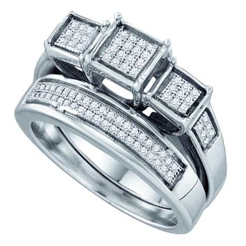 Sterling Silver Women's Diamond Triple Cluster Bridal Wedding Engagement Ring Band Set 1-4 Cttw - FREE Shipping (US/CAN)