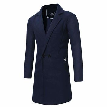 Mens Long Coats Jackets Slim Trench