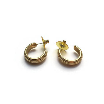 Gold Hoop Earrings | Unused Vintage Earrings | Gold Plated Hoop Earrings | New Old Stock Earrings | 1980's Gold Earrings | Made In England