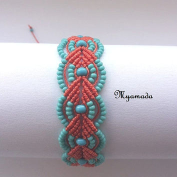 Orange and turqoise  micro macrame bracelet / free shipping