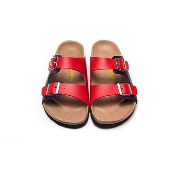 2017 Birkenstock Summer Fashion Leather Cork Flats Beach Lovers Slippers Casual Sandals For Women Men Couples Slippers color red&black size 36-45