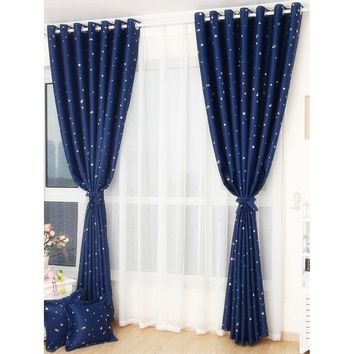 Star Print Eyelet Curtain 1pc