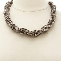 Twisted Metallic Beaded Necklace by Charlotte Russe - Hematite