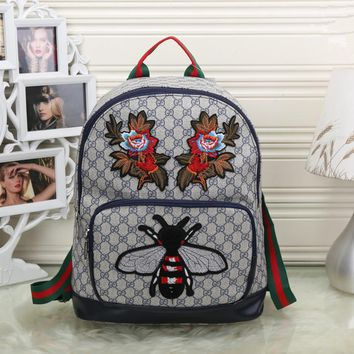 """Gucci"" Women Casual Personality Fashion Classic Print Bee Flower Embroidery Backpack Large Capacity Travel Double Shoulder Bag"