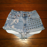 Sale Distressed Studded High Waisted Shorts by namesdollface