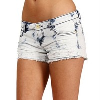 White/Blue Acid Wash Shorts