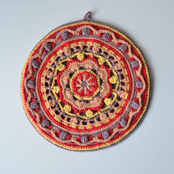 Crocheted Potholder PATTERN - round mandala pot holder - overlay crochet - orange and brown - instant download