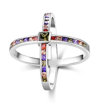 Rainbow Crystals Criss-Cross Statement Ring Set in White Gold 925 Sterling Silver Unique Casual Rings
