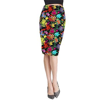 Women Pencil Skirts Elegant Flowers Print Ladies Knee-Length Skirt Elastic High Waist Package Hip Bodycon Female Vestidos Jan20