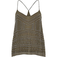 River Island Womens Khaki bead embellished cami top